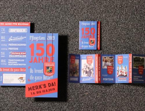 150 jähriges Jubiläum Freiwillige Feuerwehr Wildenau: Corporate Design, Flyer, Faltblätter, Tickets, Social Media