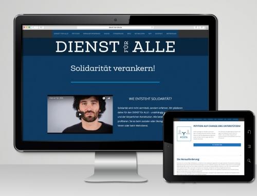 Kampagne Dienst für Alle: Website, Social Media, Schriftzug, Flyer