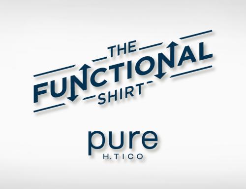 pure – The Functional Shirt: Schriftzug, Aufsteller, Flyer